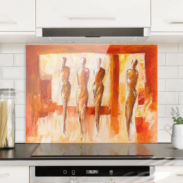 Spritzschutz Glas - Vier Figuren in Orange - Querformat 4:3