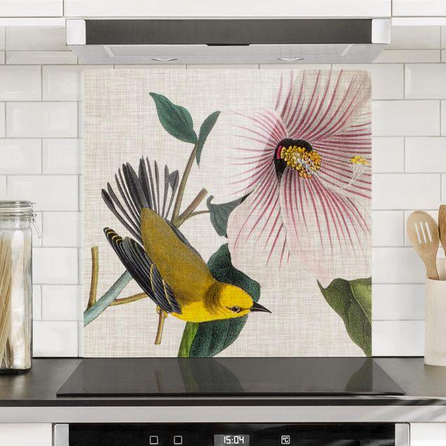 Spritzschutz Glas - Vogel auf Leinen Gelb I - Quadrat 1:1
