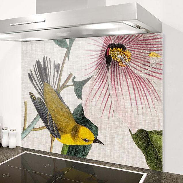 Spritzschutz Glas - Vogel auf Leinen Gelb I - Querformat 3:4