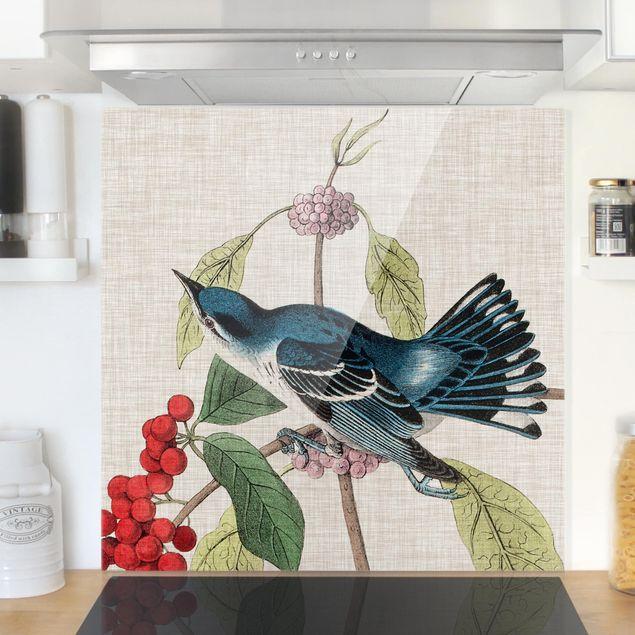 Spritzschutz Glas - Vogel auf Leinen Rosa II - Quadrat 1:1