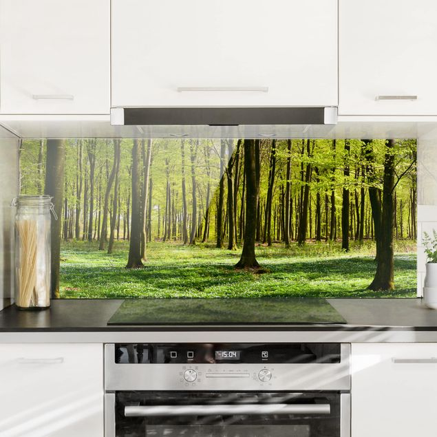 Spritzschutz Glas - Waldwiese - Panorama Quer