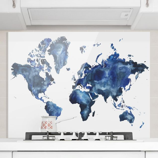 Spritzschutz Glas - Wasser-Weltkarte hell - Querformat 3:4