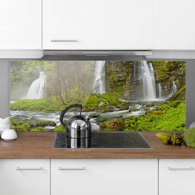 Spritzschutz Glas - Wasserfälle Cascade de Flumen - Panorama