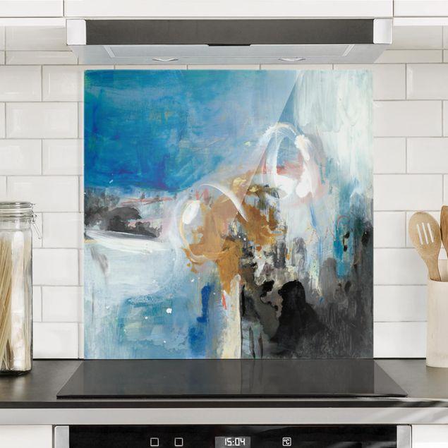 Spritzschutz Glas - Wechselspiel Abstrakt II - Quadrat 1:1