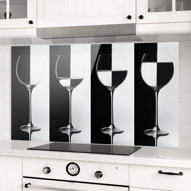 Spritzschutz Glas - Weingläser Schwarz&Weiß - Querformat 1:2