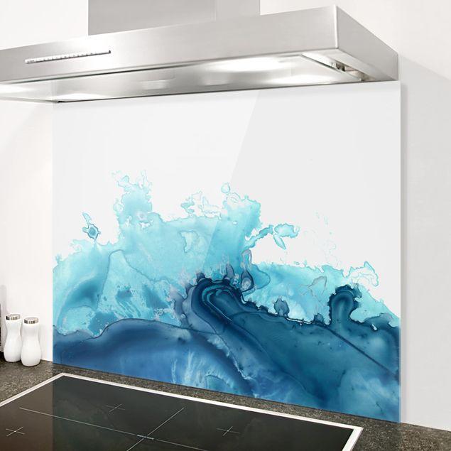 Spritzschutz Glas - Welle Aquarell Blau I - Querformat 3:4