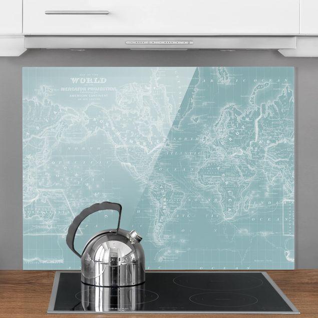 Spritzschutz Glas - Weltkarte in Eisblau - Querformat 3:4