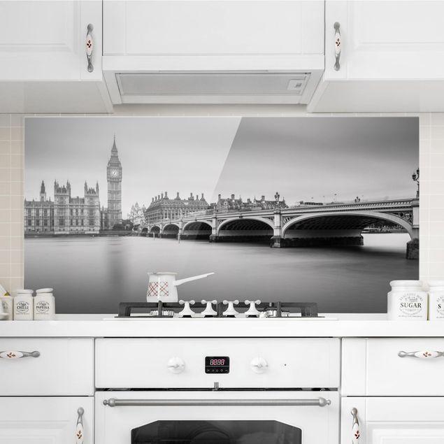 Spritzschutz Glas - Westminster Brücke und Big Ben - Querformat 1:2