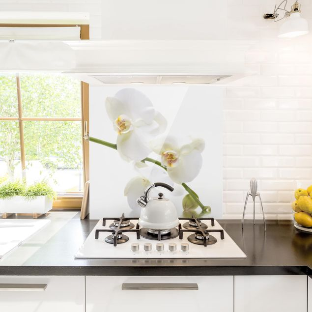 Spritzschutz Glas - White Orchid Waters - Quadrat 1:1