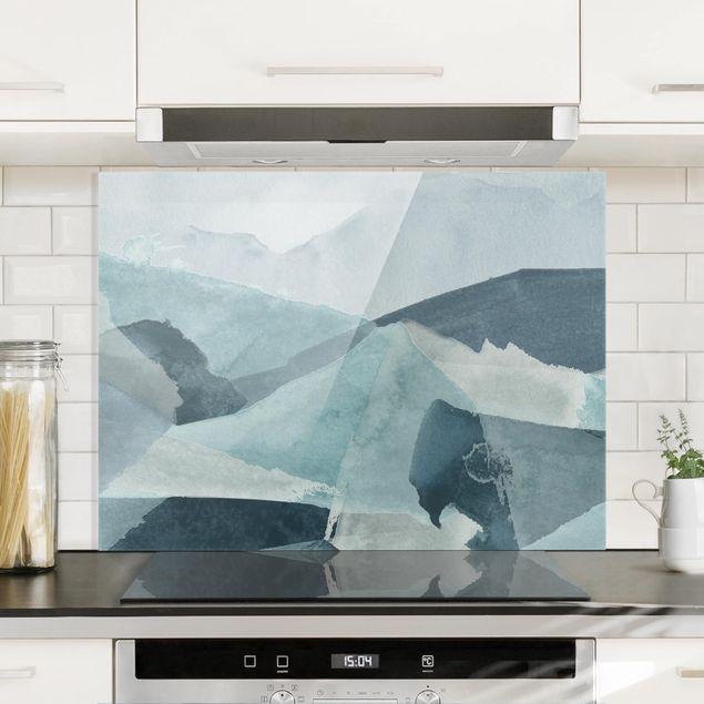 Spritzschutz Glas - Wogen in Blau III - Querformat 3:4
