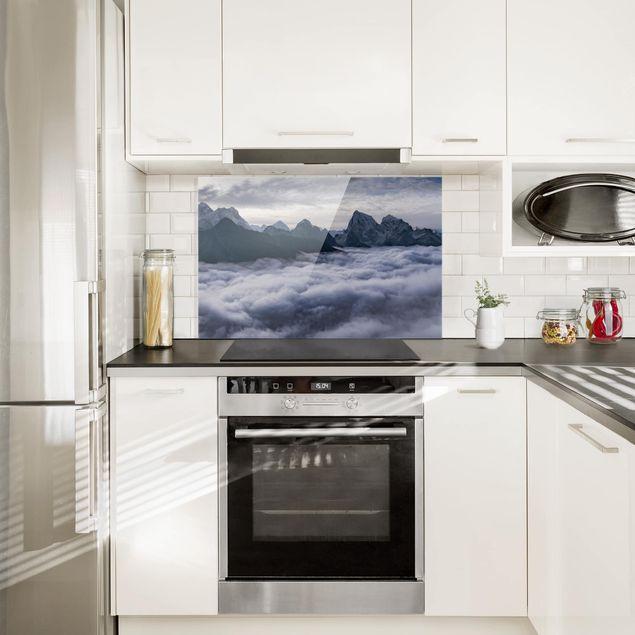 Spritzschutz Glas - Wolkenmeer im Himalaya - Querformat 2:3