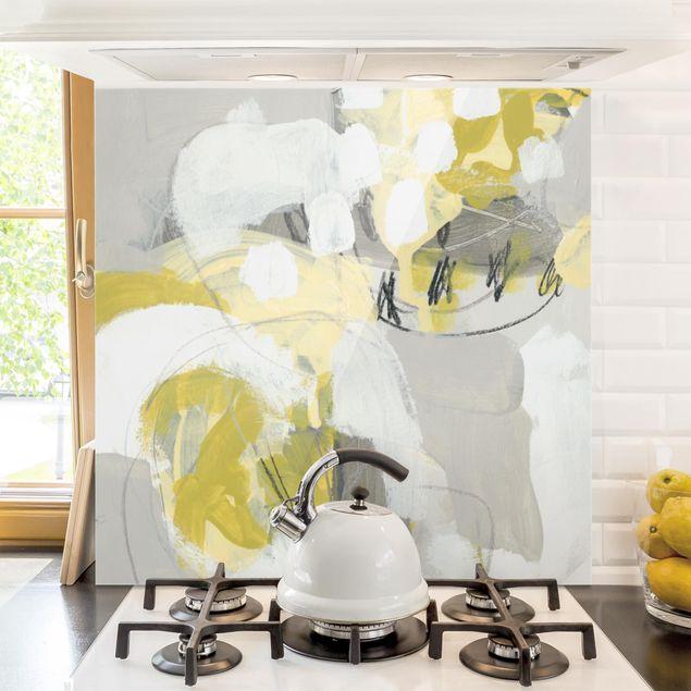 Spritzschutz Glas - Zitronen im Nebel I - Quadrat 1:1