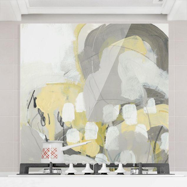 Spritzschutz Glas - Zitronen im Nebel II - Quadrat 1:1