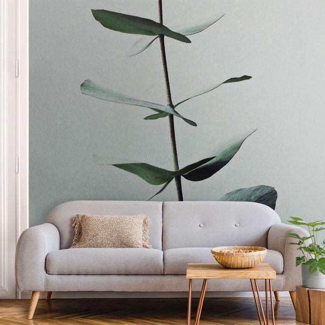 Metallic Tapete - Symmetrischer Eukalyptuszweig