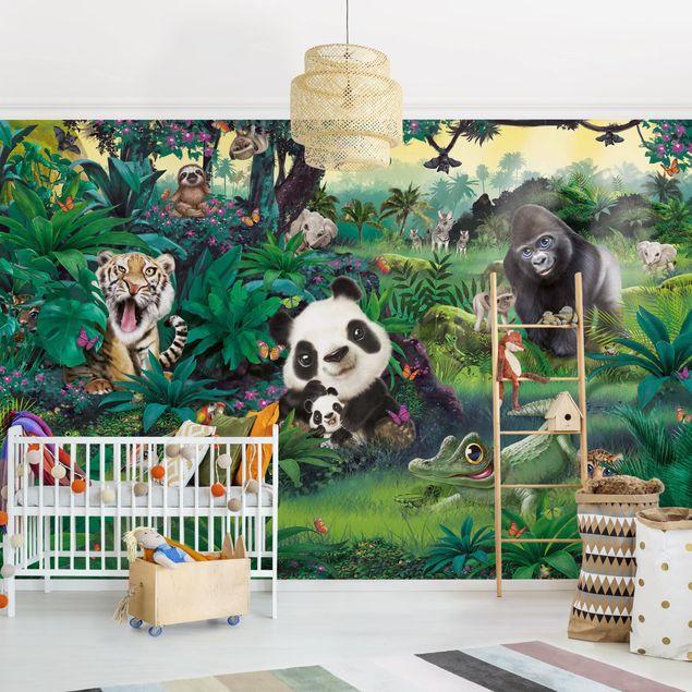 Fototapete Kinderzimmer - Animal Club International - Dschungel mit Tieren