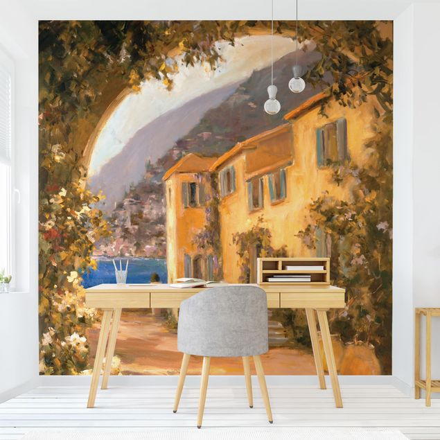 Fototapete - Italienische Landschaft - Blumenbogen