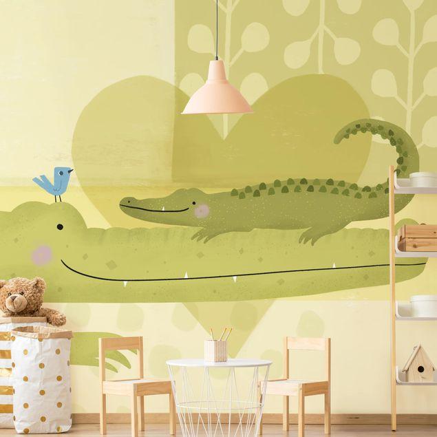 Fototapete - Mama und ich - Krokodile