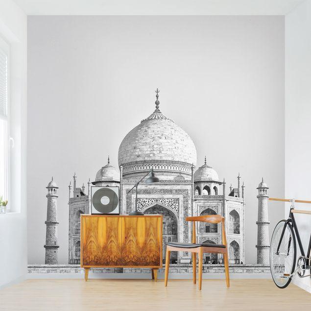 Fototapete - Taj Mahal in Grau