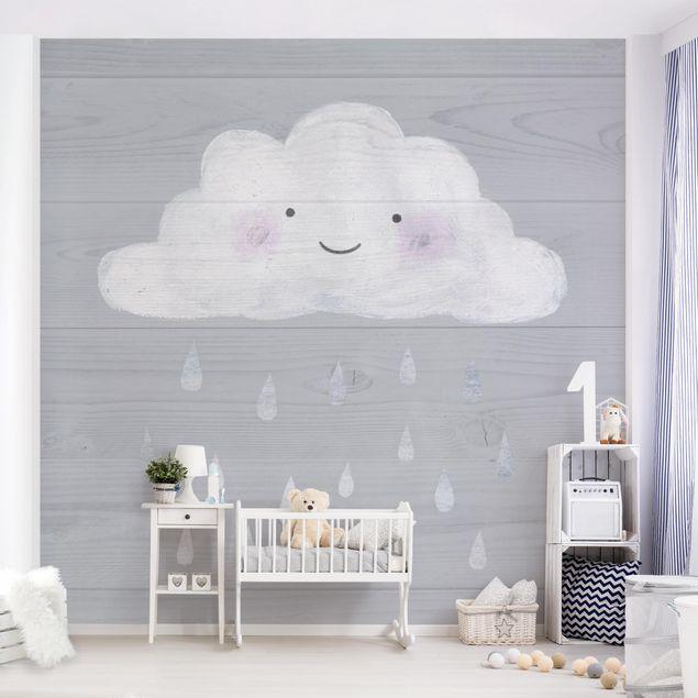 Fototapete - Wolke mit silbernen Regentropfen