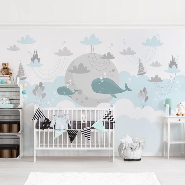 Fototapete - Wolken mit Wal und Schloss