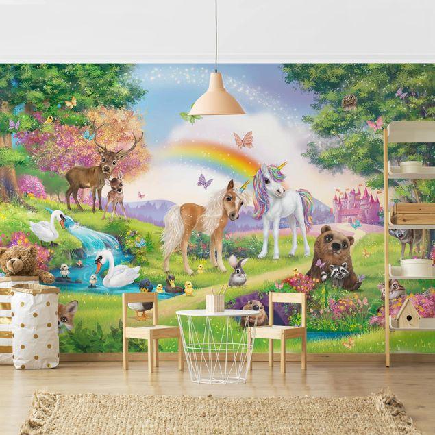 Fototapete Kinderzimmer - Animal Club International - Zauberwald mit Einhorn