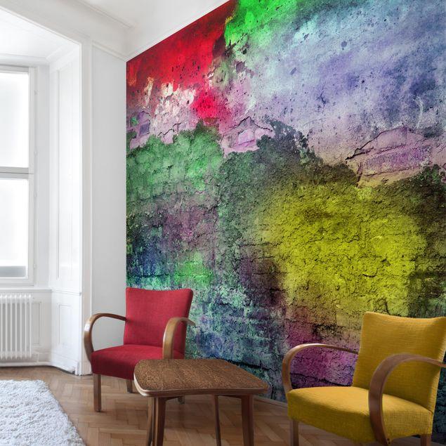 Fototapete Bunte besprühte alte Wand aus Backstein