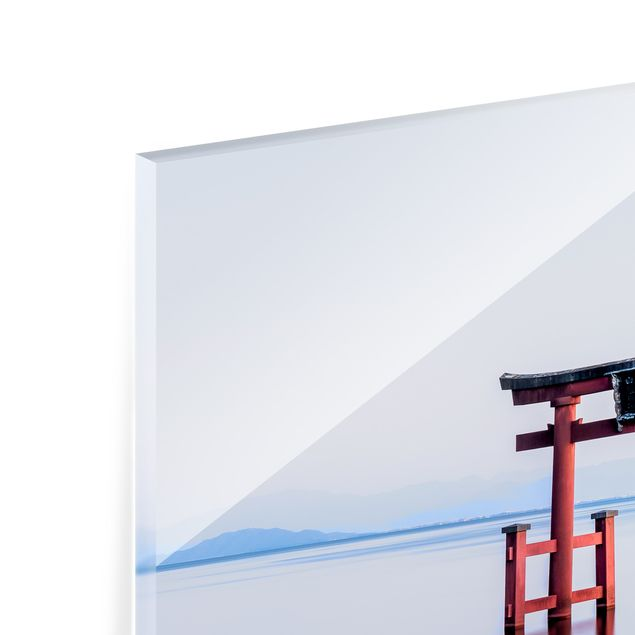 Spritzschutz Glas - Torii im Wasser - Quadrat 1:1