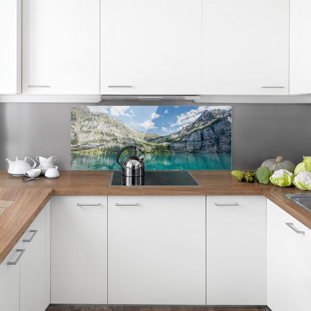 Spritzschutz Glas - Traumhafter Bergsee - Panorama 5:2