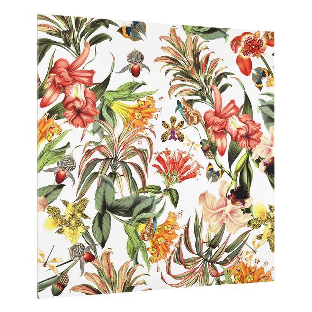 Spritzschutz Glas - Tropische Blumen - Quadrat 1:1
