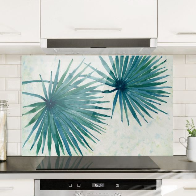 Spritzschutz Glas - Tropische Palmenblätter Close-Up - Querformat 3:2