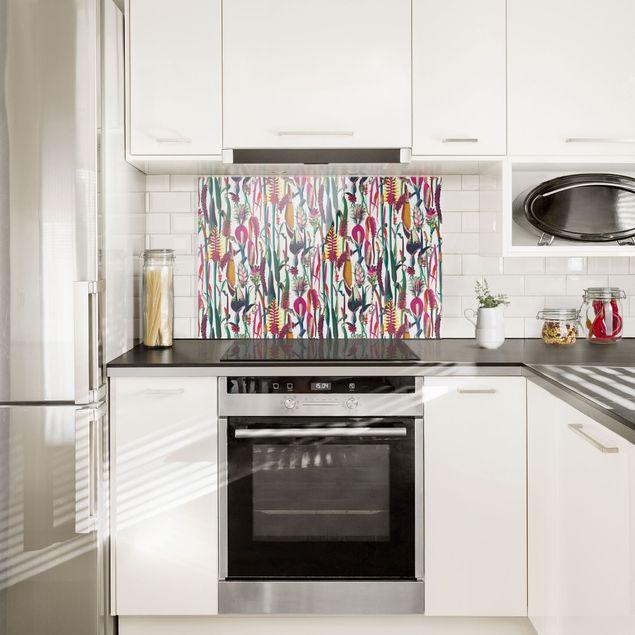 Spritzschutz Glas - Tropisches Luxus Muster XXL - Querformat 3:2