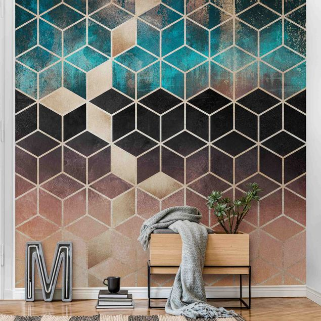 Metallic Tapete  - Türkis Rosé goldene Geometrie