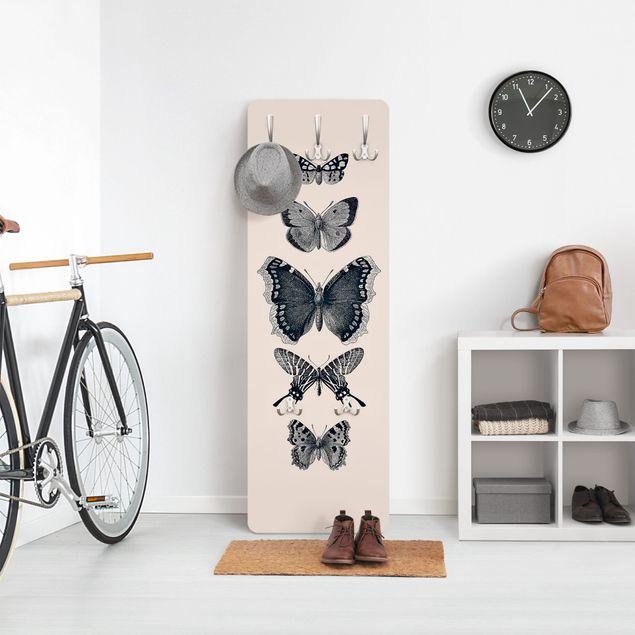 Garderobe - Tusche Schmetterlinge auf Beige