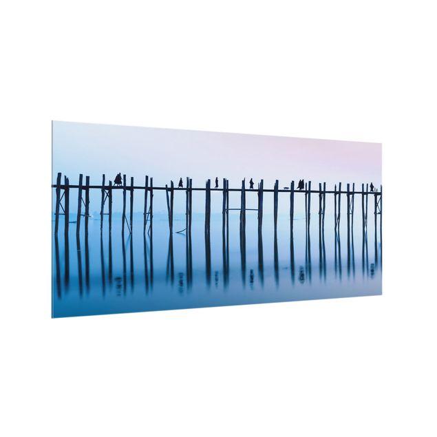 Spritzschutz Glas - U-Bein Brücke in Myanmar - Querformat 2:1