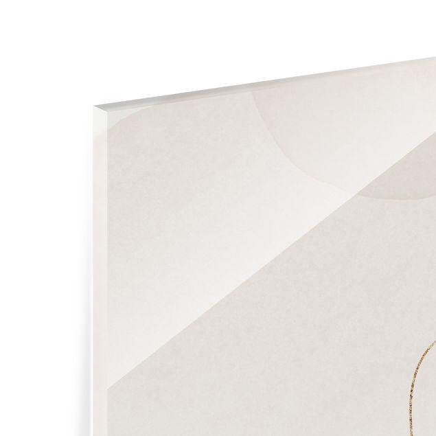 Spritzschutz Glas - Verspielte Impressionen mit goldenen Linien - Querformat 2:1