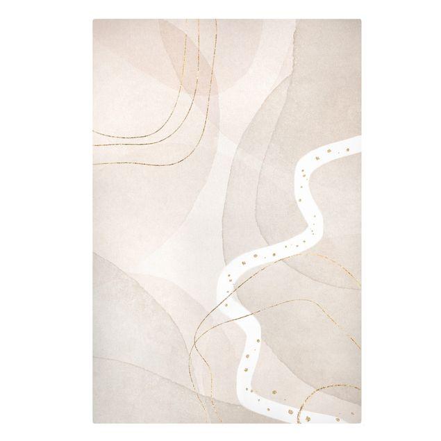 Leinwandbild - Verspielte Impressionen mit weißer Linie - Hochformat 2:3