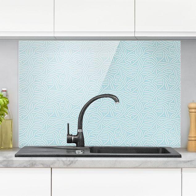 Spritzschutz Glas - Verspieltes Muster mit Linien und Punkten in Hellblau - Querformat 3:2
