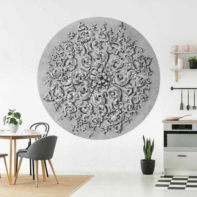 Runde Tapete selbstklebend - Viktorianische Ornamentik mit Patina in Schwarz-Weiß