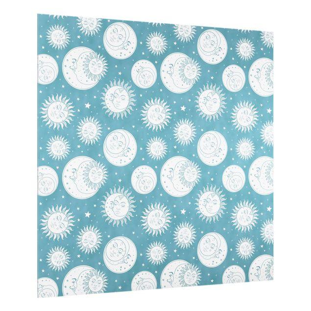 Spritzschutz Glas - Vintage Sonne, Mond und Sterne - Quadrat 1:1