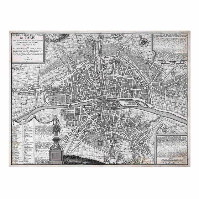 Leinwandbild - Vintage Stadtplan Paris um 1600 - Querformat 4:3