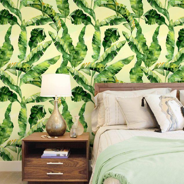 Fototapete Bananenblätter Aquarell