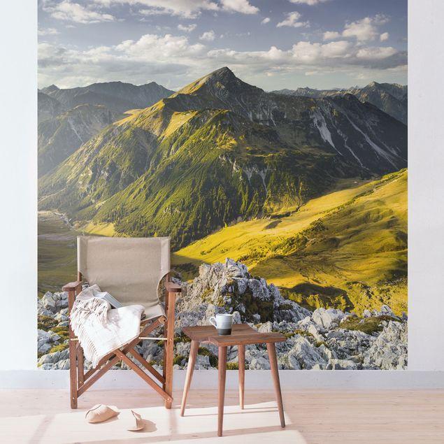 Fototapete Berge und Tal der Lechtaler Alpen in Tirol