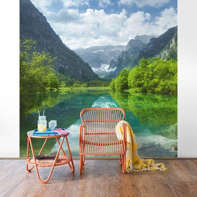Fototapete Bergsee mit Spiegelung