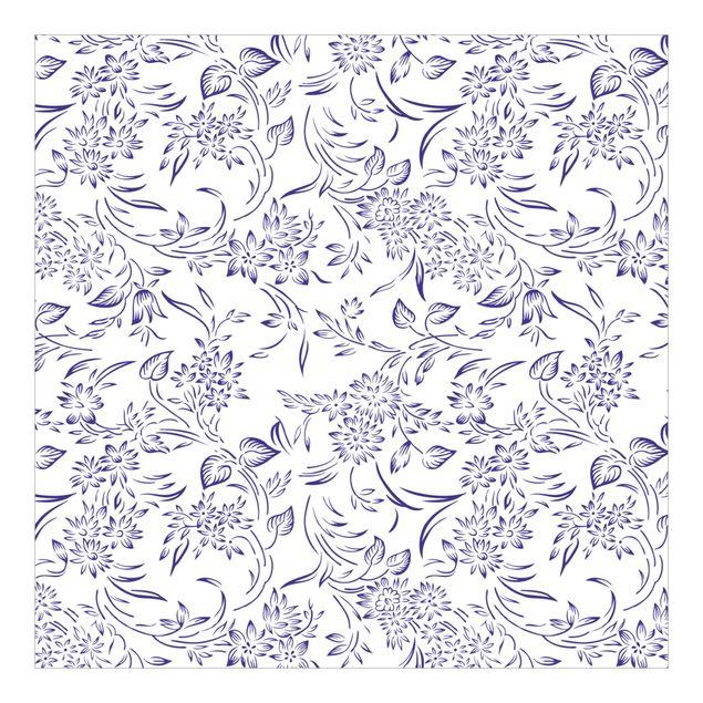 Fototapete Blumenmuster mit blauen Ranken