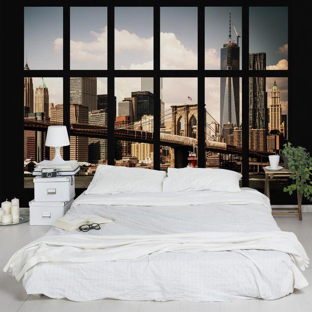 Fototapete Fenster New York Brooklyn Bridge