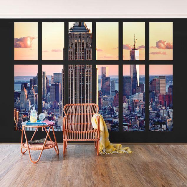 Fototapete Fensterblick Empire State Building Sonnenuntergang
