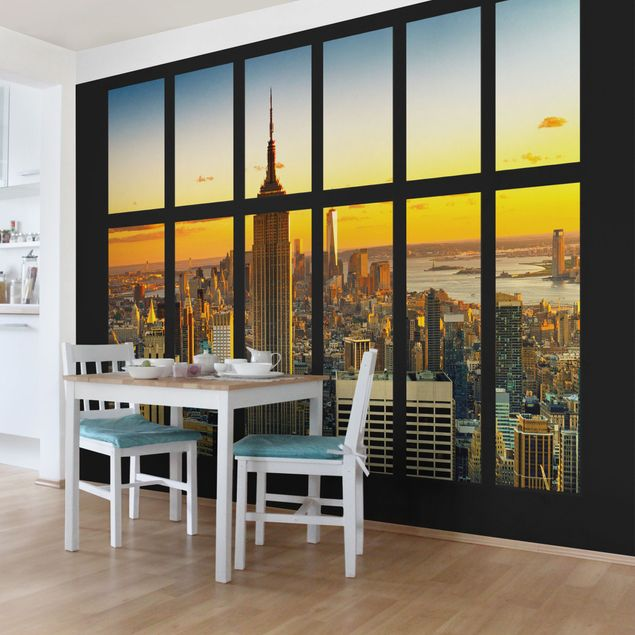 Fototapete Fensterblick Manhattan Skyline Sonnenuntergang
