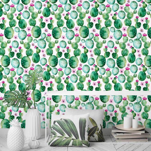Fototapete Kaktus mit Blüten Aquarell