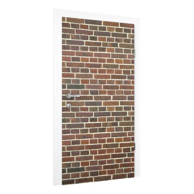 Türtapete - Rotbraune Backstein Mauer