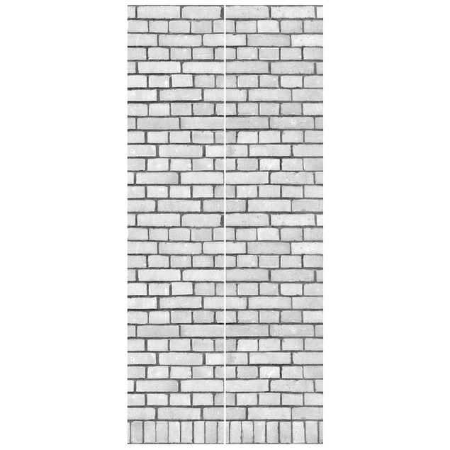 Türtapete - Weiße Backstein Mauer